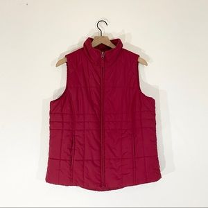 🌿 Athletic Works Red Puffer Vest Size L